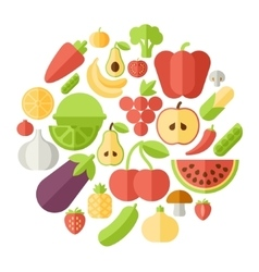 Fruits circle flat vector image