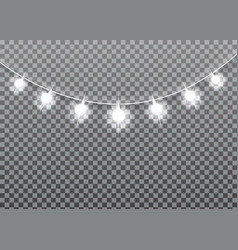 garland glowing light bulbs christmas and new year vector image