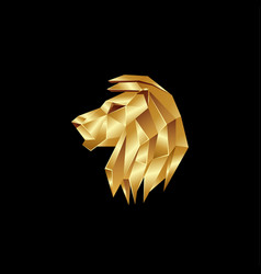 golden lion head logo on a black background vector image