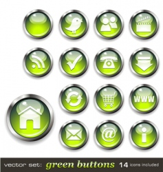 green aqua style web buttons vector image
