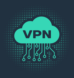 Green cloud vpn interface icon isolated on blue vector