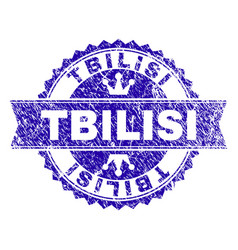 Grunge textured tbilisi stamp seal with ribbon vector