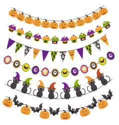 Halloween pattern brush garland vector