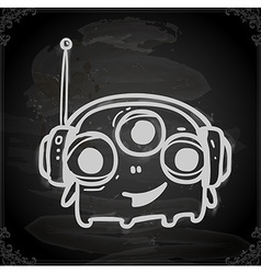 Hand Drawn Three Eyed Alien vector image