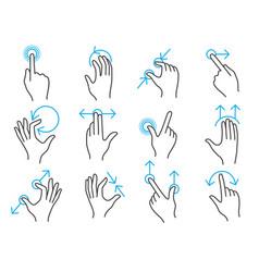 Hand touchscreen gestures vector