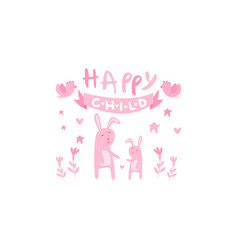 happy child cute kids poster with little bunnies vector image