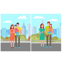 happy family in city park mother father and son vector image