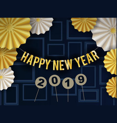 happy new year 2019 background design with circle vector image