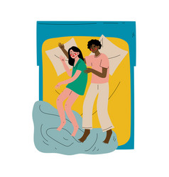 interracial couple sleeping together in double bed vector image
