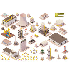 isometric factory buildings set vector image