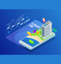 isometric online booking hotel reservation travel vector image