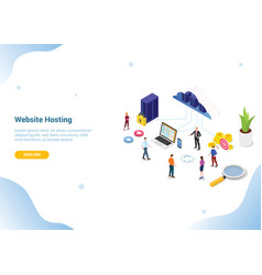 Isometric web or website hosting business service vector