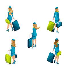 isometry stewardess with luggage vector image