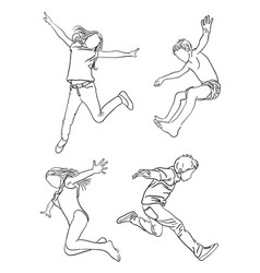 kids jumping line art 02 vector image