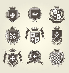 knight shields and royal coat arms set vector image