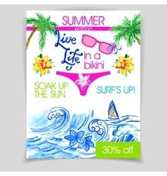 live life in a bikini flyer vector image