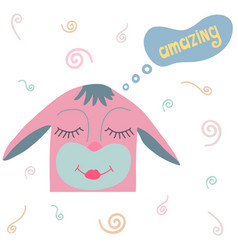 lovely hand-drawn pink hare with doodles vector image