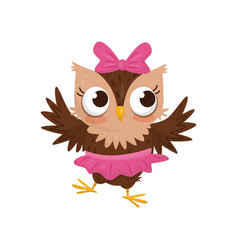 lovely little owlet girl wearing pink skirt and vector image