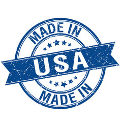 Made in usa blue round vintage stamp vector