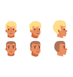 male heads set smiling caucasian young men vector image