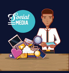 man with smartphone social media technology vector image