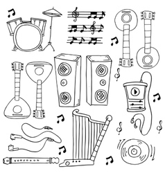 Many tool music doodles stock collection vector