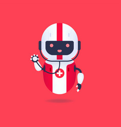 Medical friendly android robot with stethoscope vector