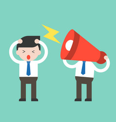 megaphone head and annoying businessman annoying vector image