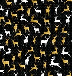 Merry christmas gold reindeer seamless pattern vector