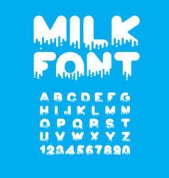 milk liquid font dairy alphabet viscous letters vector image