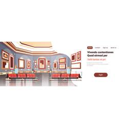 Modern art gallery in museum interior creative vector