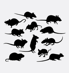 Mouse and rat mammal animal silhouette vector