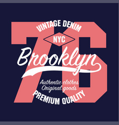 new york brooklyn vintage graphic for number vector image