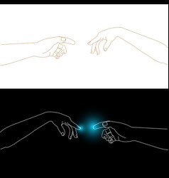 outline man and woman hands fingers touching vector image
