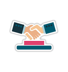 Paper sticker on the white background handshake vector
