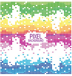 Pixel background text with design blue yellow red vector