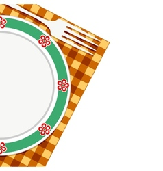Plate and fork on a napkin vector