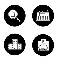Real estate glyph icons set vector