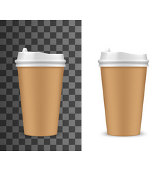 realistic coffee cup container with lid vector image