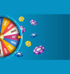 realistic fortune wheel and chips - casino vector image