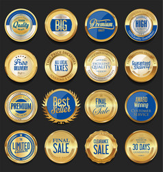 retro golden badge collection 2 vector image