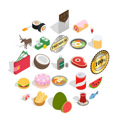 sandwich icons set isometric style vector image