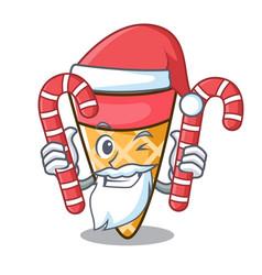 santa with candy ice cream tone mascot cartoon vector image