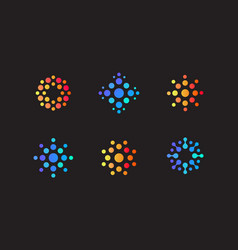 set abstract round logo dots different vector image