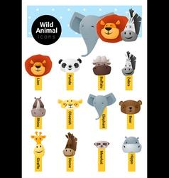 Set cute animal icons wildlife vector