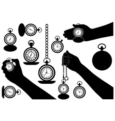 set different pocket watches vector image