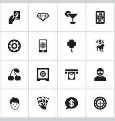 set of 16 editable casino icons includes symbols vector image vector image