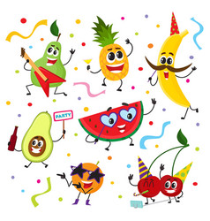 Set of funny fruit characters having party vector