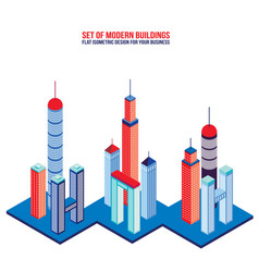 set of modern tall buildings isometric flat vector image