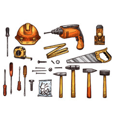 sketch icons of work tools vector image